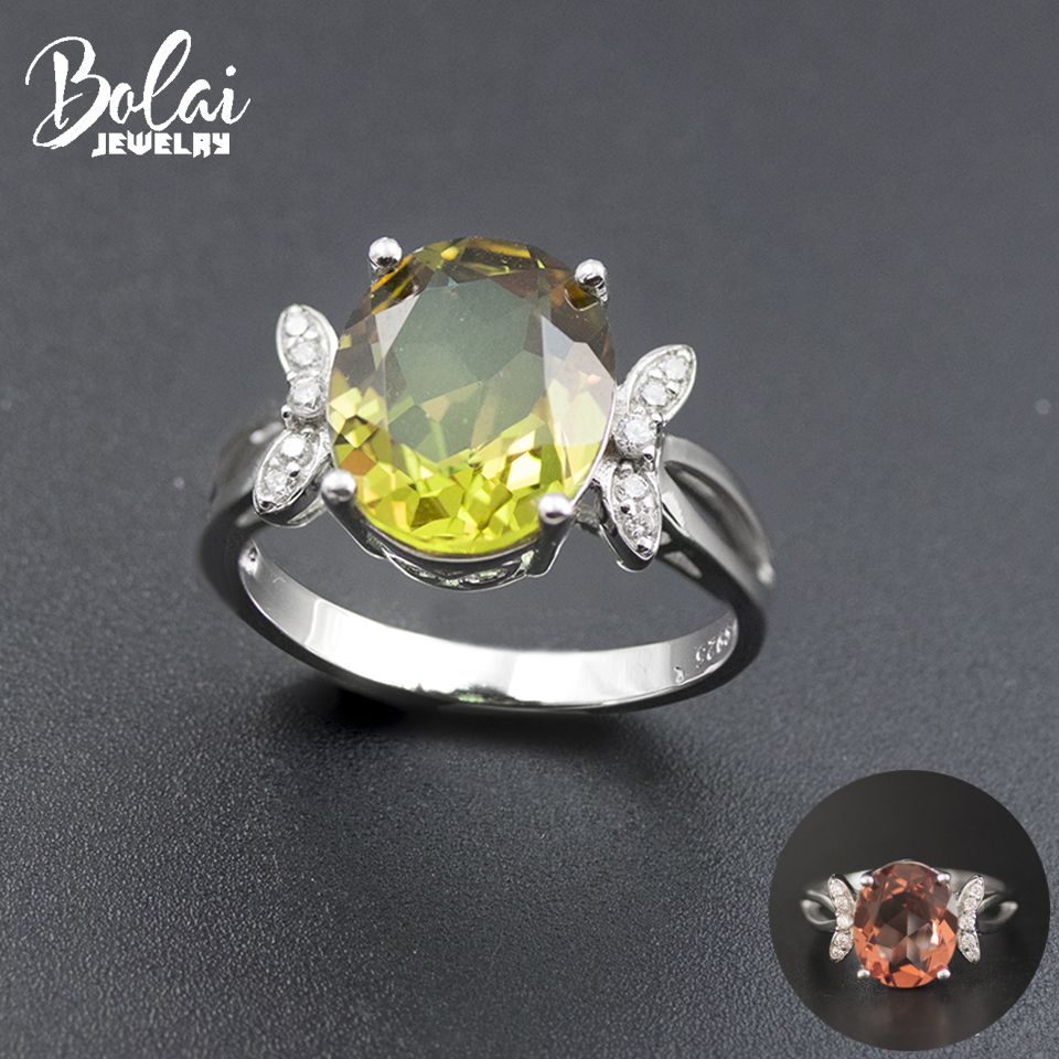 Bolai Color Change Sultanit Ring 925 Sterling Silver Oval 14*10mm Nano Diaspore Gemstone Jewelry Butterfly Ring for Women 11.11