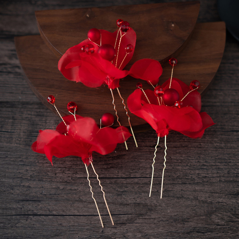 1 PC Red Rose Flower Hairpins Trendy U Shape Floral Hair Sticks for Bridal Wedding Hairwear Ornaments Headdress Party Bobby Pins