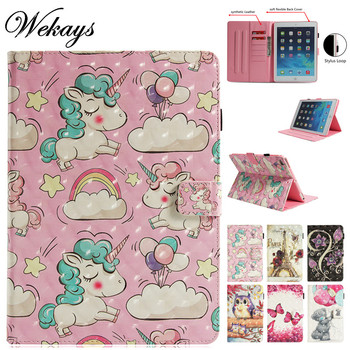 Wekays For Coque Apple IPad 9.7 inch 2018 2017 Cartoon Unicorn 3D Leather Fundas Case For IPad 9.7 2017 A1822 A1823 Cover Cases wekays for apple ipad mini 4 cute cartoon unicorn leather fundas case sfor coque ipad mini 4 tablet cover cases for ipad mini4