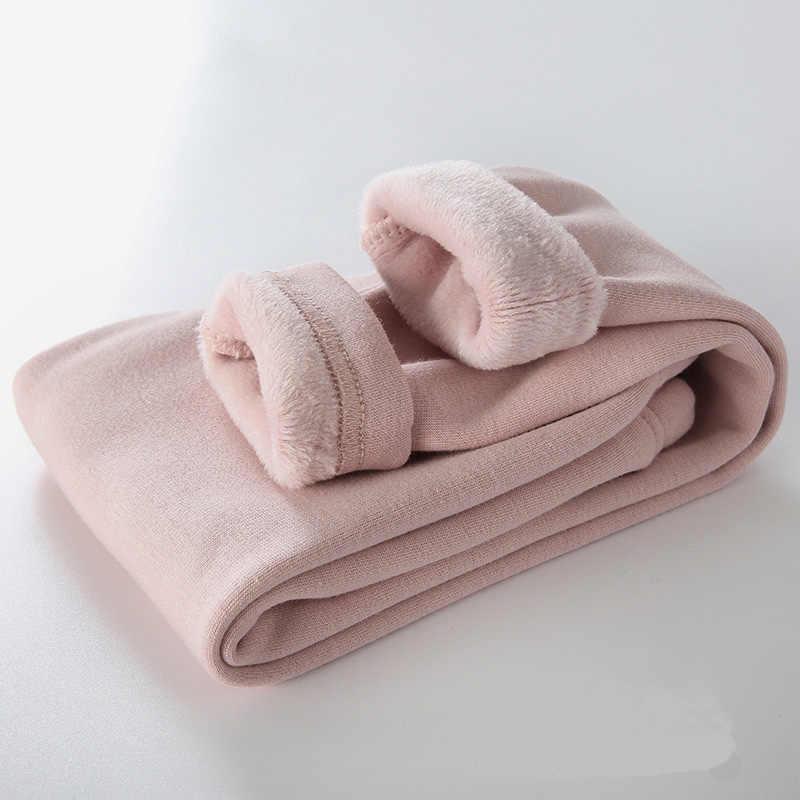 ใหม่ Grils กางเกงเด็กฤดูหนาวหนาหนากางเกงขายาว Leggings อบอุ่นยืดหยุ่นเอวกางเกงขายาวผ้าฝ้ายผู้หญิงกางเกง