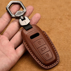 High Quality Genuine Leather Remote Key Cover Case Fob Shell for Audi TT A7 A8 D5 Q7 Q8 A6L C8 2018 2019