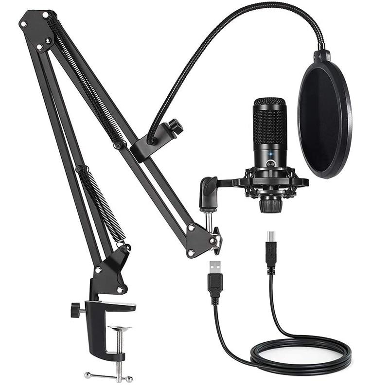 Профессиональный конденсаторный USB-микрофон в комплекте, для компьютера, ПК, студии, потокового вокала, YouTube, игр, микрофон