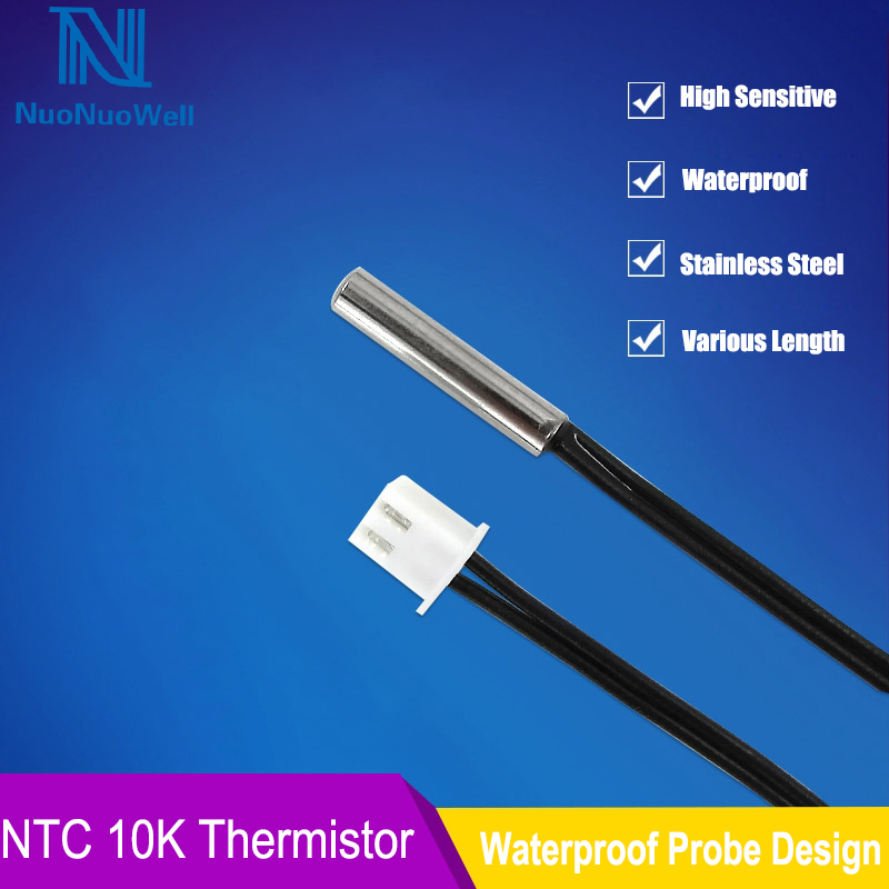 NTC 0.5/1/2/3/5M Length Waterproof Temperature Sensor XH2.54 2P Plug Terminal 10K Cable For Computer Refrigerator Probe