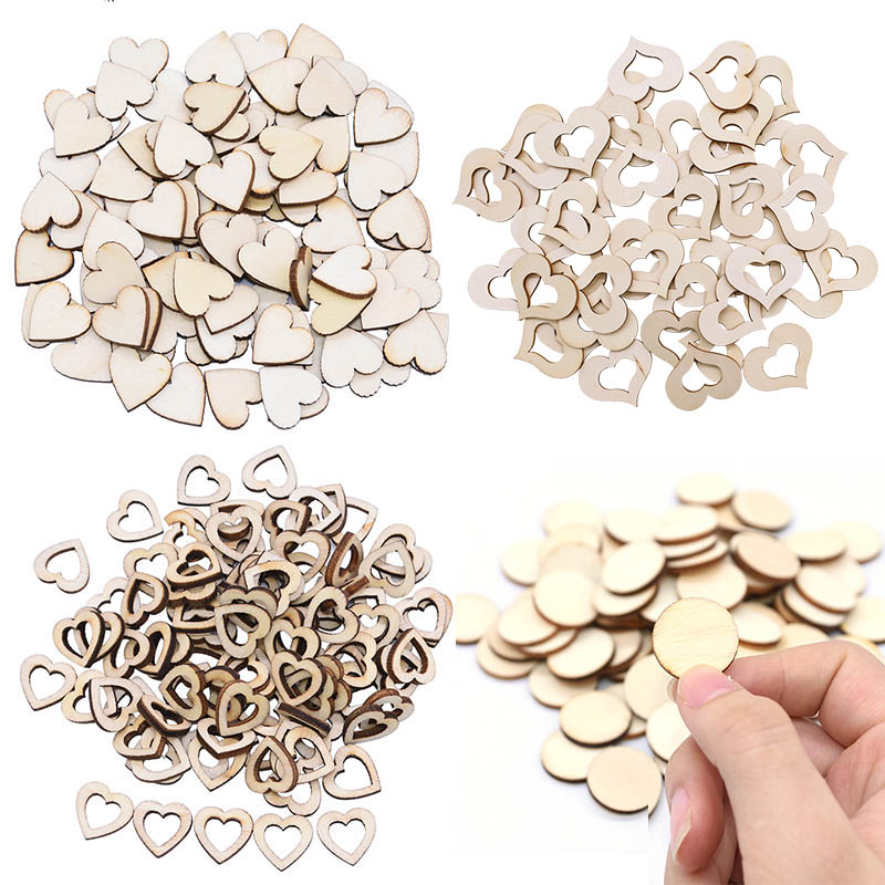 50/100pcs Blank Heart Wood Slices Wood Love Heart Round Shape Wedding Table Scatter DIY Craft Rustic Wedding Decoration Buttons