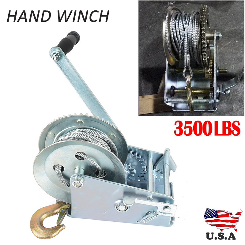 3500lbs Steel With Zinc Plated Dual Gear 1pc X Boat Truck Auto Hand Manual Winch Hand Tool Lifting Sling
