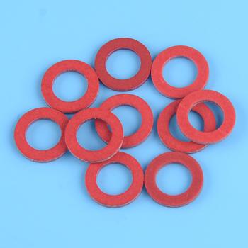 DWCX 10PC czerwona dolna jednostka do spuszczania oleju uszczelka śrubowa pasuje do Yamaha 90430-08020-00 90430-08003 akcesoria tanie i dobre opinie Plastic 90430-08020-00 90430-08003 for 1984 and Newer Yamaha Models and Components