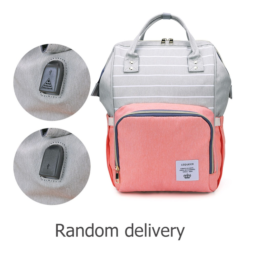 Had16720c5d4b450eb8443e15d24fc231E LEQUEEN Fashion USB Mummy Maternity Diaper Bag Large Nursing Travel Backpack Designer Stroller Baby Bag Baby Care Nappy Backpack