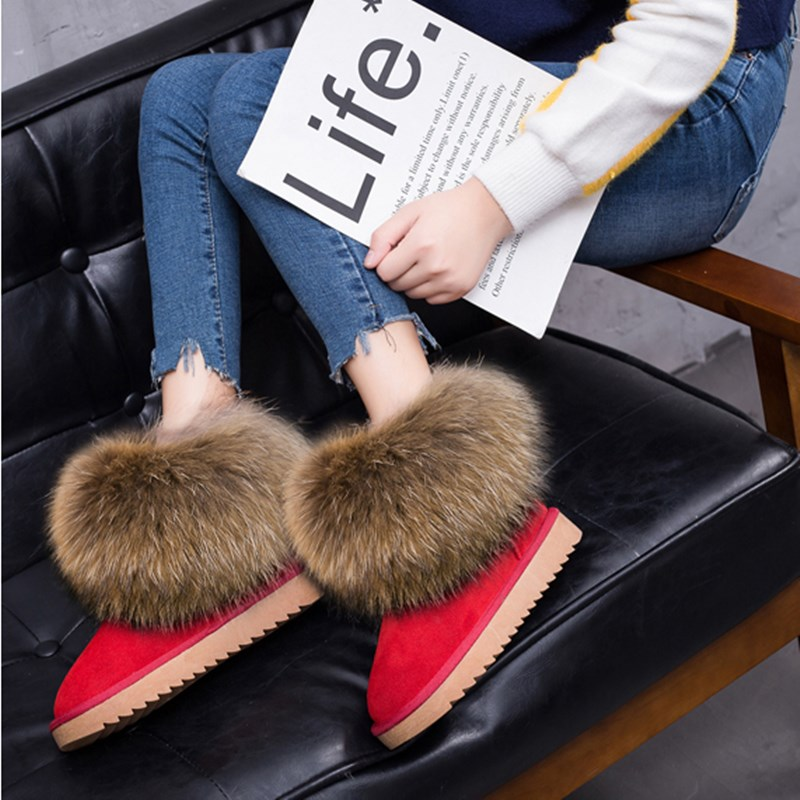 free delivery! Natural wool snow boots, leather women's boots, real fox fur, winter warm ankle boots, various colors, plus size