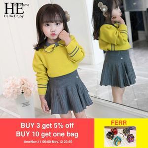 Image 1 - HE Hello Enjoy/осенне зимний комплект одежды для маленьких девочек, изысканная детская одежда, теплый вязаный пуловер + плиссированная юбка, костюмы