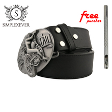 Sexy Lady Silver Mens Metal Belt Buckles with Leather Motorcycle Head Drop Shipping