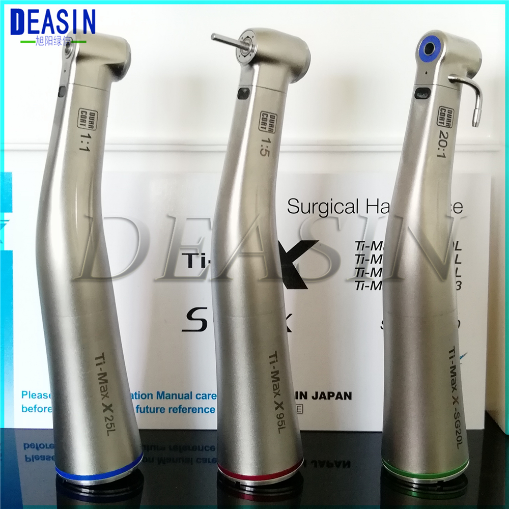 1 Pcs X Dental Fiber Optical LED Contra Angle Ti-max Low Speed Handpiece 1:5 1:1 20:1 1:4.2 Dental Handpiece