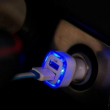 New Dual USB Car Charger LED Lamp Light 2.1a Fast Charging Home