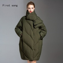 Women's 90% white duck down jacket jacket 2019 new coating Parka high quality warm thin section loose X-Long women's down jacket цены онлайн