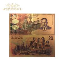 Billete de 20 SGD en oro de 24 quilates, 10 unidades por lote