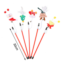 5pcs Cat toy Tease Stick with Bell Cute Funny Rod Teaser Wand Feather Christmas Pet Toys Shoes star Santa Claus rabbit