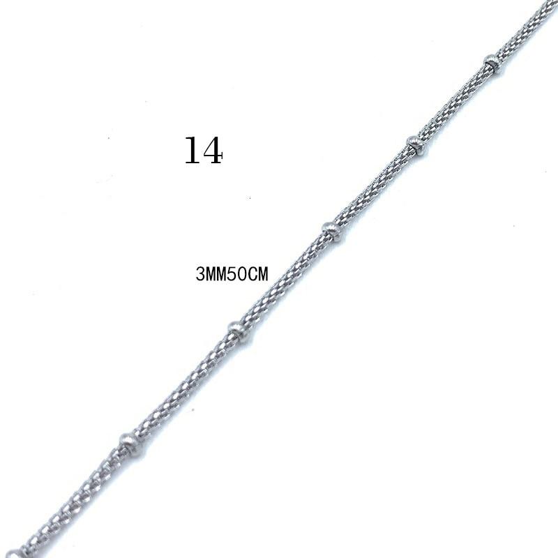 USENSET, звено, ожерелье s 304, цепи из нержавеющей стали, никогда не стираются, цветная бусина, коробка, киль, подвеска, ожерелье, ювелирные изделия, подарки - Окраска металла: 14