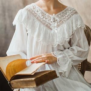 Image 3 - Womens Vintage Gothic Victorian Night Dress White Cotton Flare Sleeve V Neck Lace Embellished Ruffle Hem Autumn Nightgown T29