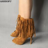 ASHIOFU Neue Handgemachte Damen High Heel Stiefel Mit Fransen & Quaste Peep-Toe Herbst Stiefeletten Sexy Mode-Shopping Stiefel schuhe