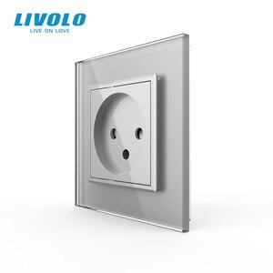 Image 4 - Livolo EU Standard Israel Power Socket, Crystal Glass Panel,100~250V 16A Wall Power Socket,C7C1IL 11/12/13/15(7colors),no logo