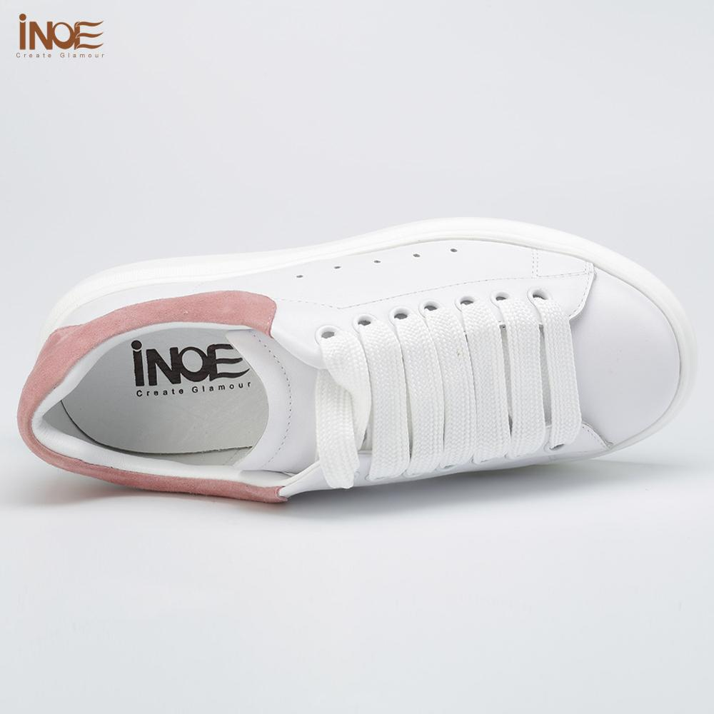 INOE Fashion Women Spring Casual Sneakers Genuine Cow Leather Autumn Leisure Shoes Hidden Heel White Black Red Clearance Sale