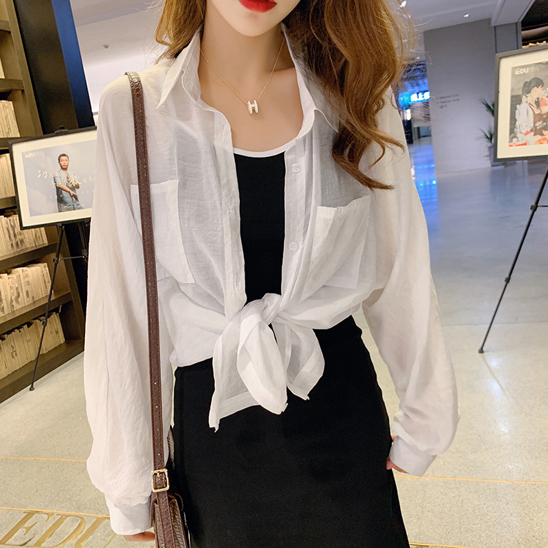 Photo Shoot WOMEN'S Suit 2019 Korean-style New Style Sun-resistant Thin Shirt + Strapped Dress Two-Piece Women's Summer F7361