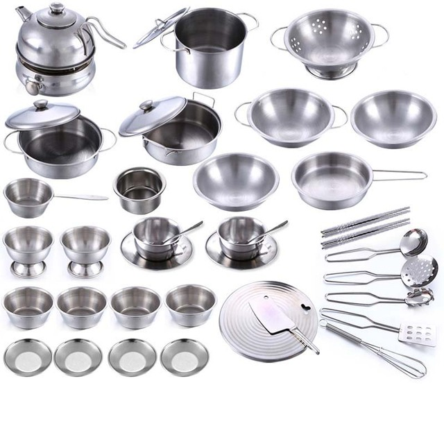 40PCS/Set Pretend Play Cooking Set Toy Stainless Steel Kitchen Toys Kids Stainless Steel Cooking Tools Educational Learning Toys 4