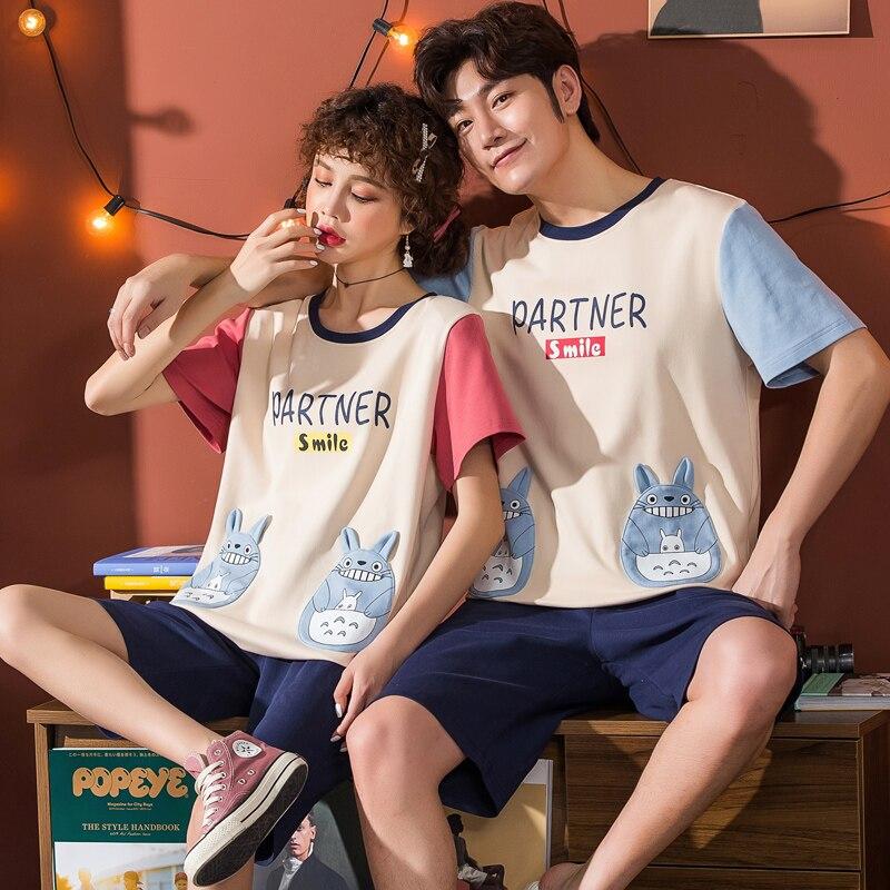 2020 Summer Male Short Sleeve Homewar Couples Pajamas Summer Cotton Homewear Casual Lover's Pyjamas Set Plus Size3XL 4XL 5XL