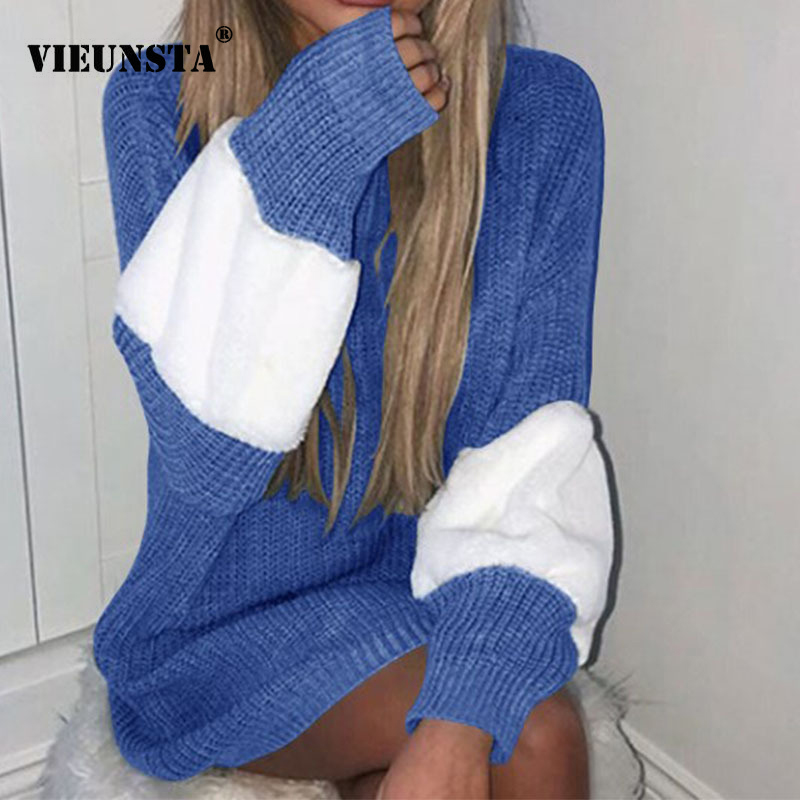 VIEUNSTA 2019 Autumn <font><b>Winter</b></font> Warm Sweater <font><b>Dress</b></font> Women Long <font><b>Sleeve</b></font> Patchwork Knitted <font><b>Dress</b></font> <font><b>Sexy</b></font> O Neck Pullover Mini <font><b>Dress</b></font> Vestido image