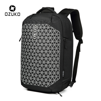 OZUKO Anti Theft Reflective USB Charge Backpack Men Waterproof Large Capacity Travel Male 15.6 inch Laptop Backpacks