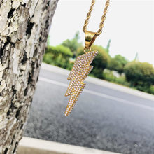 D&Z Attractive Bling Full Rhinestone Lightning Pendant Necklace Stainless Steel Jewelry For Men Cool Accessories(China)