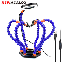 NEWACALOX 세 번째 손 납땜 PCB 홀더 도구 여섯 팔 도움 손 공예 수리 용접 역 3X USB LED 돋보기