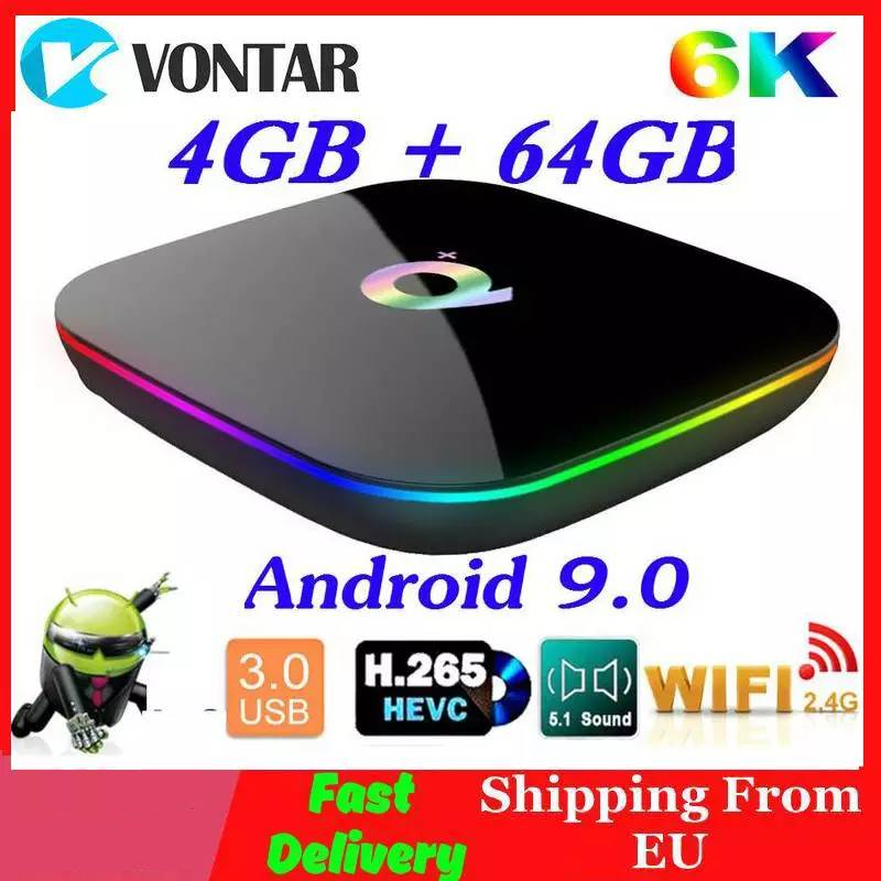 6K Smart TV BOX Android 9.0 4GB RAM 64GB ROM Allwinner H6 QuadCore USB3.0 2.4G Wifi Youtube Q Plus TVBox Media Player 2G16G