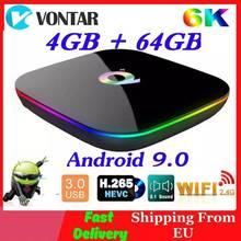 6K Smart TV BOX Android 9.0 4GB di RAM 64GB ROM Allwinner H6 QuadCore USB3.0 2.4G Wifi youtube Q Più TVBox Media Player 2G16G