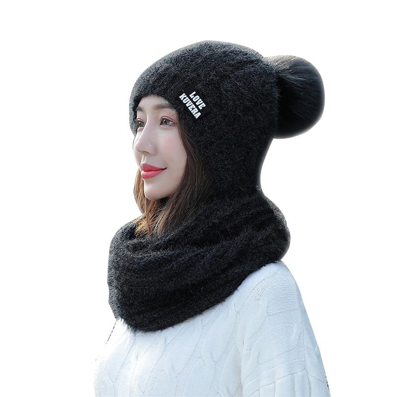 Luxury Brand Women's Hat And Snood 2/Set Thick Knit Lic Scarf Wrap Female Pompom Beanies Winter Warm Soft Skullies Burgundy Cap