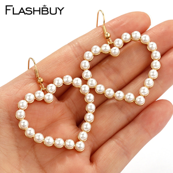 Flashbuy Simple Gold Heart Pearl Drop Earrings For Women Fashion Statement Pearl Dangle Earrings Party Jewelry Trendy Accessorie 2020 summer elegant pearl drop earrings for women fashion big pendant statement freshwater pearl earrings party jewelry gifts