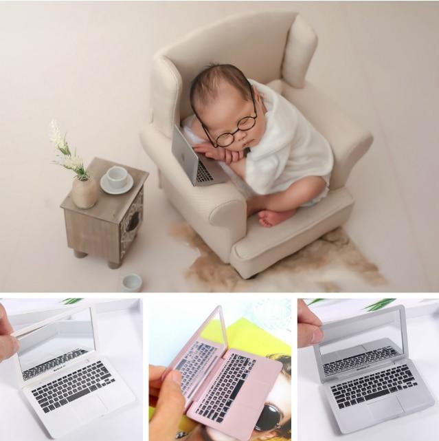 Accessoire de photographie Mini ordinateur portable | Accessoire de tournage pour nouveau-né, accessoires créatifs photographie à thème moderne pour bébé, décoration de nouveaux ornement