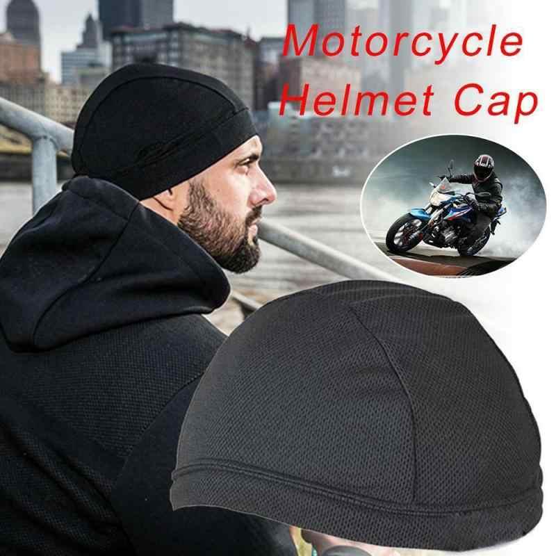 สีดำรถจักรยานยนต์UnisexหมวกQuickแห้งBreathableหมวกรถจักรยานยนต์หมวกMoisture Wicking Cooling Raceภายใต้หมวกนิรภัย