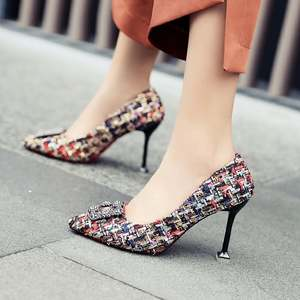Cloth Buckle Fragrance-Style Square Rhinestone Pointed-Fine High-Heels Women New