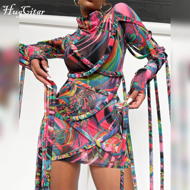 Hugcitar 2021 Langarm Rollkragen Band Print Bandage Netz Mini Kleid Frühling Sommer Frauen Mode Streetwear Oberbekleidung