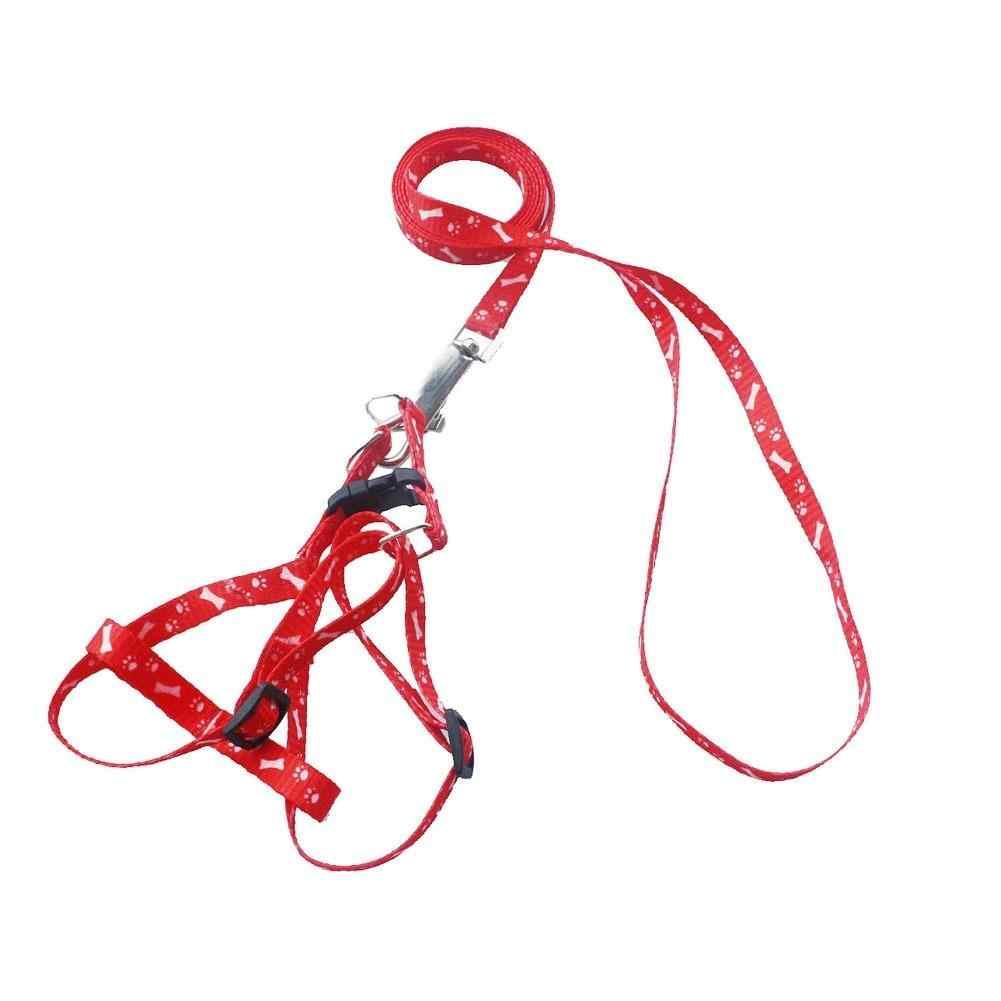 犬猫の首輪ハーネスとリーシュ調整可能なナイロン元気いっぱい犬の首輪 5 色ポリエステルプリントペットリーシュロープベルト犬製品