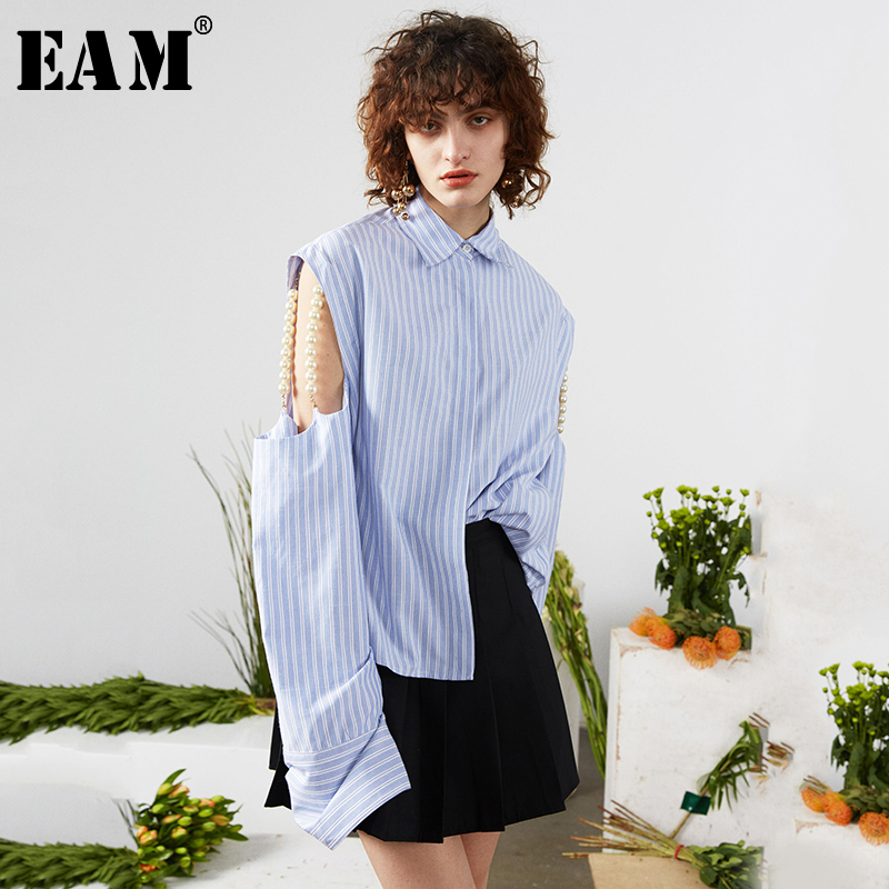 [EAM] Women Hollow Out Pearl Striped Big Size Blouse New Lapel Long Sleeve Loose Fit Shirt Fashion Tide Spring Autumn 2020 1S728