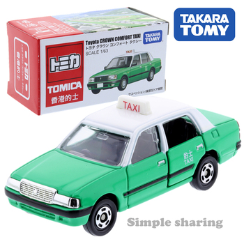 Takara Tomy Tomica Toyota Crown Comfort Taxi Green Miniature Car Scale 1/63 Kids Toys Motor Vehicle Diecast Metal Model image