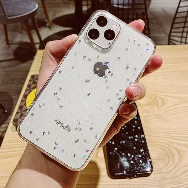 Voor Apple iPhone 6 6s 7 8 Plus 11 Pro 10 X XS XR Max Bling Glitter Ster Maan sparkle Pailletten Soft Clear Silicone TPU Case Cover 1