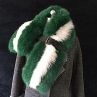 Quality real female fashion green fox fur scarf for winter long size neckerchief temperamental fox fur coat shawl 100*23cm