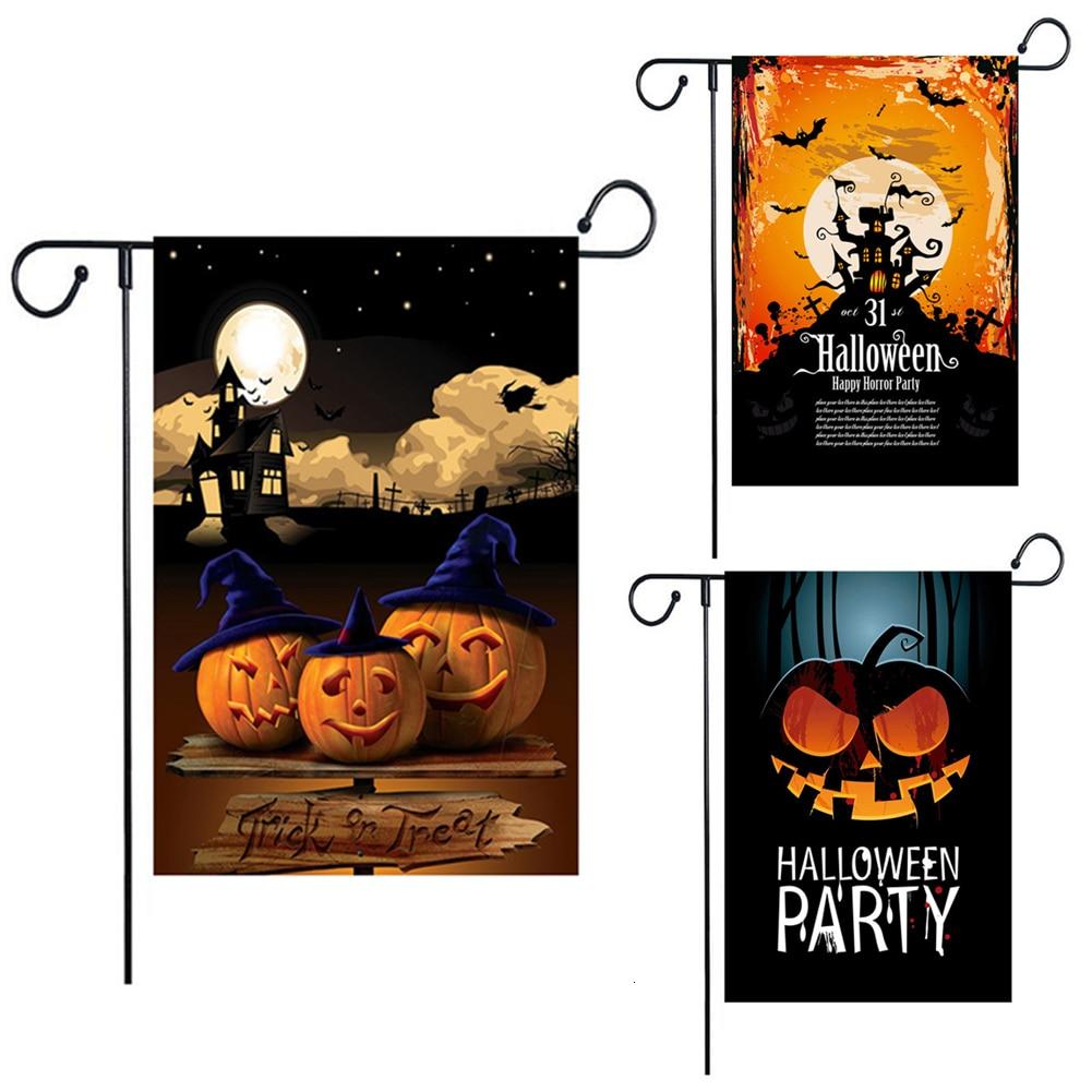 Halloween Garden Flag 12×18 inch Double-Sided Happy Burlap Pumpkin Castle Bat Decorative Yard