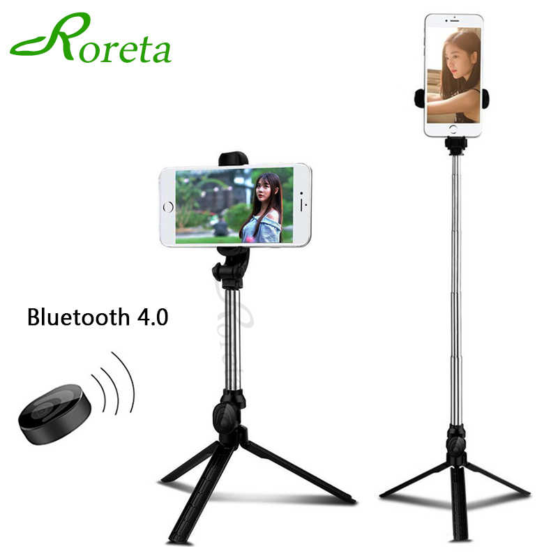 Roreta Bluetooth Nirkabel Selfie Tongkat Portable Handheld Monopod Foldable Mini Tripod dengan Tombol Rana untuk iPhone Ios Android
