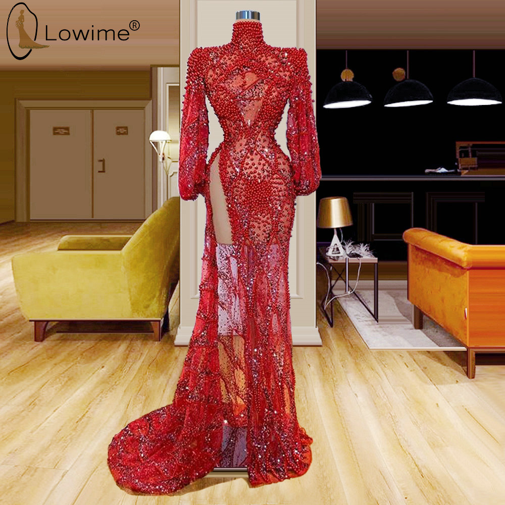 Sexy Muslim Illusion Red Beading Long Sleeve Mermaid Evening Dresses High Neck Side Split Robe De Soiree Prom Party Gowns