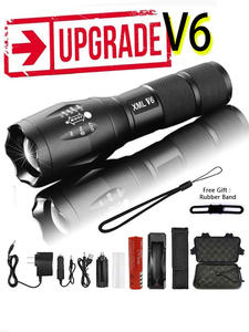 Led Flashlight Rechargeable-Battery Mini Torch Waterproof Tactical Zoomable 5-Modes Camping