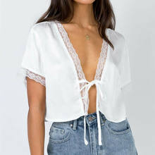 New Women's Top shirt Satin Silk Tie Knot Crop Top Sexy Ladies V-neck Tops Female Front Flared Sleeve Plunge Neck Solid Tees(China)