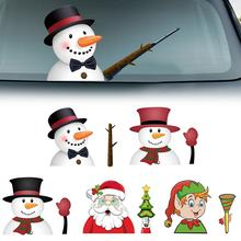 Car Rear Wiper Sticker Windshield Decal Tags Christmas Stickers Cute Santa Claus Waving